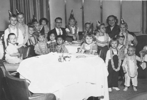 Carolyn's Birthday Party, S.S. President Wilson (Peggy to right of photo, next to Carolyn's mother)
